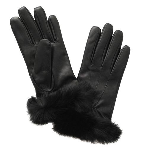 Glove.ly Women's Leather Rabbit Cuff Touchscreen Gloves LG-012-L