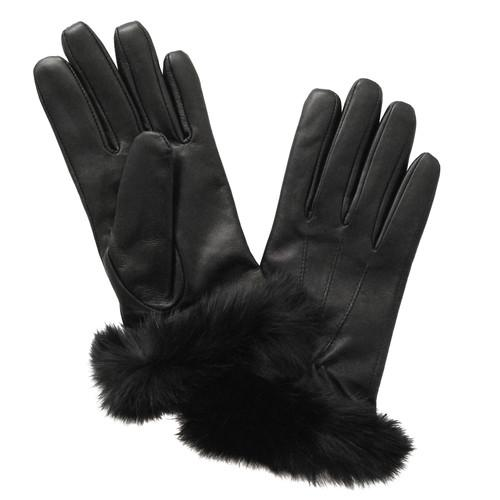 Glove.ly Women's Leather Rabbit Cuff Touchscreen Gloves LG-012-S