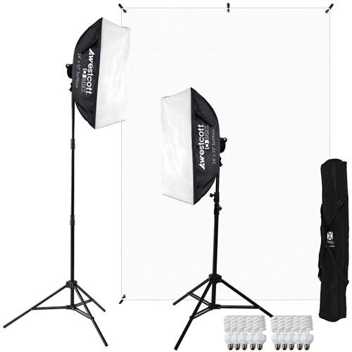 Westcott Basics 2-Light D5 Softbox and White Background Kit 484