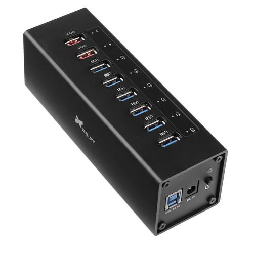 Xcellon 8-Port Powered USB 3.0 Aluminum Hub (Black) USB-8PCH