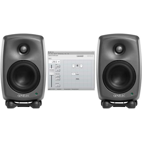 Genelec Two 8320A Studio Monitors & GLM V2.0 8320 STEREO SAM