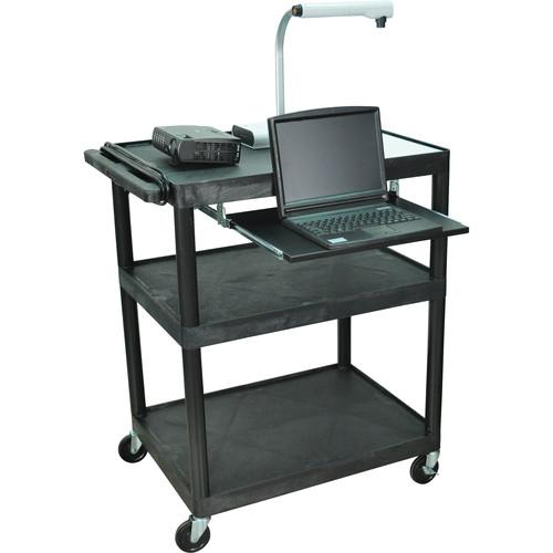 Luxor LP40LE-B Presentation Cart with Three Shelves and LP40LE-B