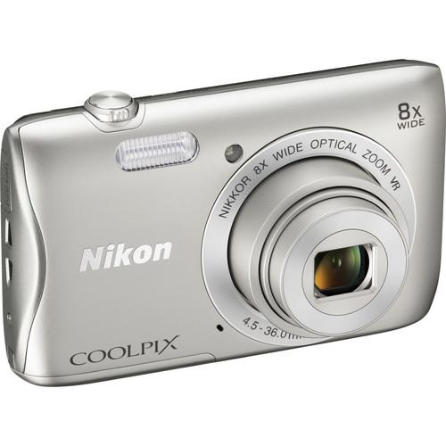 Nikon COOLPIX S3700 Digital Camera Deluxe Kit (Silver)