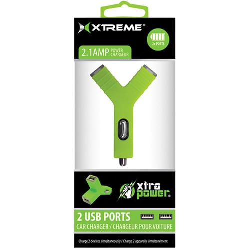 Xtreme Cables 2.1A Dual Port USB Car Charger (Green) 89824