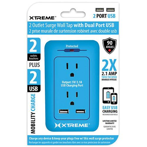 Xtreme Cables 2 Outlet Surge Wall Tap with Dual Port USB 28233