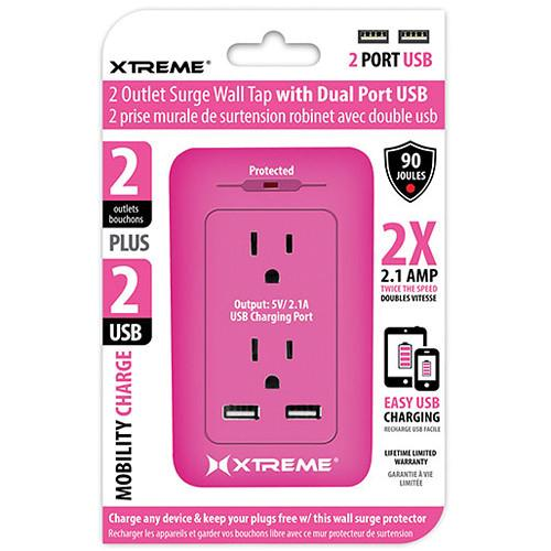 Xtreme Cables 2 Outlet Surge Wall Tap with Dual Port USB 28234