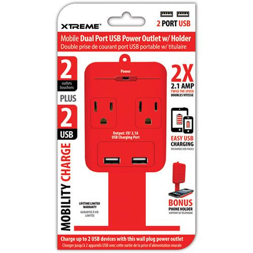 Xtreme Cables 2 Outlet Wall Tap with Dual Port USB and 28285