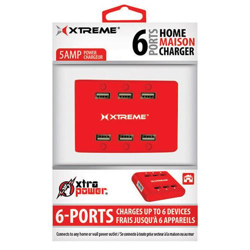 Xtreme Cables  6-Port USB Charger (Red) 81263