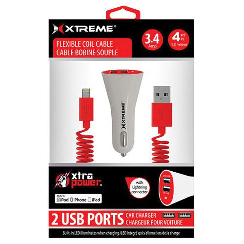 Xtreme Cables Dual Port Car Charger with 8-Pin Cable (Red) 86803