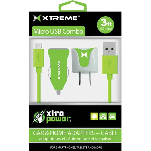 Xtreme Cables Micro USB Home and Car Charging Kit (Green) 88365