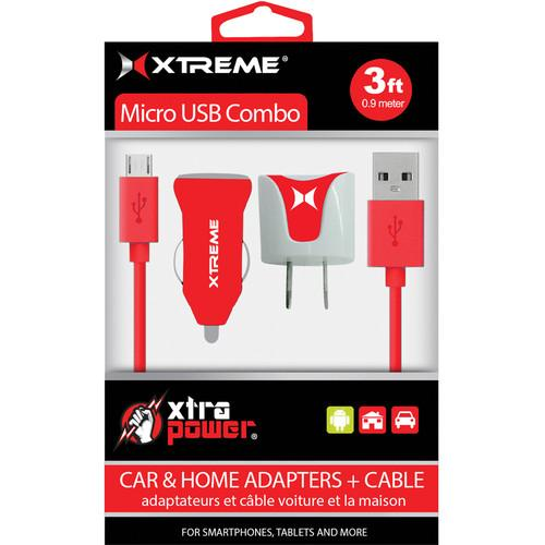 Xtreme Cables Micro USB Home and Car Charging Kit (Red) 88363