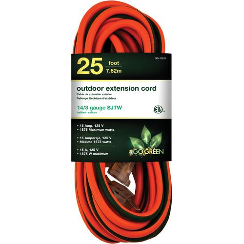 Go Green 15A 125V Outdoor Extension Cord (25', Orange) GG-13825