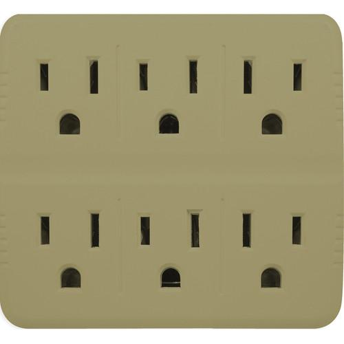 Go Green 6-Outlet Wall Tap Adapter (Tan) GG-16000TT