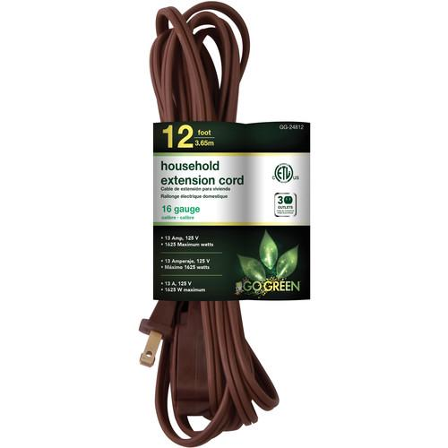 Go Green Household Extension Cord (12', Brown) GG-24812