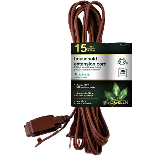 Go Green Household Extension Cord (15', Brown) GG-24815