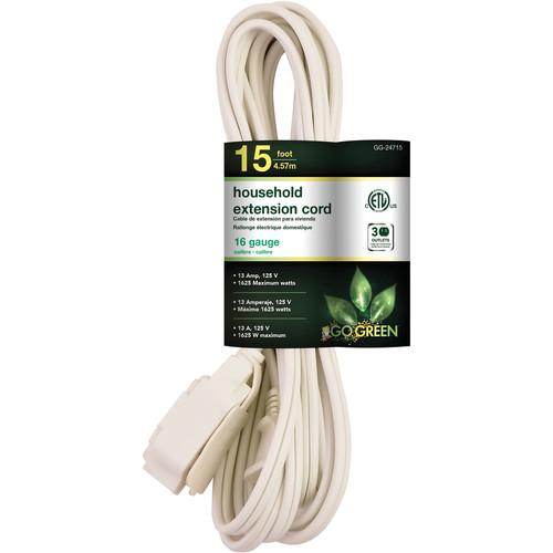 Go Green Household Extension Cord (15', White) GG-24715