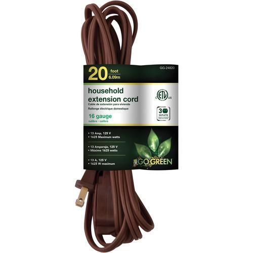 Go Green Household Extension Cord (20', Brown) GG-24820