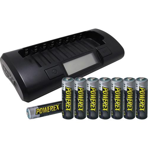 Powerex MH-C801D 8-Cell 1-Hour Charger with 8 AA MH-C801D8AA27