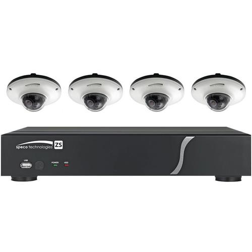 Speco Technologies One 4-Channel N4ZS NVR with Four ZIPK4IM1W