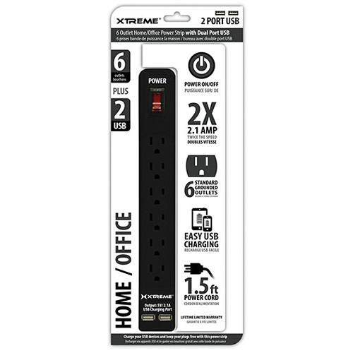 Xtreme Cables Home/Office Power Strip with Dual Port USB 28631