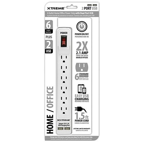 Xtreme Cables Home/Office Power Strip with Dual Port USB 28632