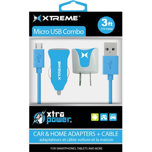 Xtreme Cables Micro USB Home and Car Charging Kit (Blue) 88364