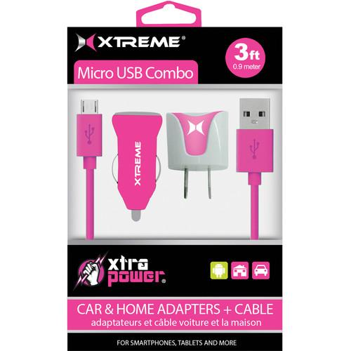 Xtreme Cables Micro USB Home and Car Charging Kit (Pink) 88362