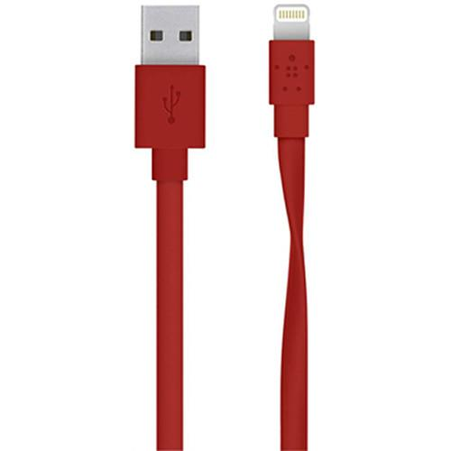 Belkin MIXIT Flat Lightning to USB Cable (4', Red)