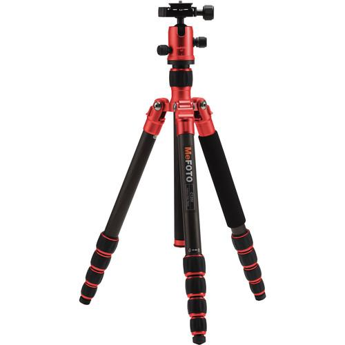 MeFOTO RoadTrip Carbon Fiber Travel Tripod Kit (Red) C1350Q1R