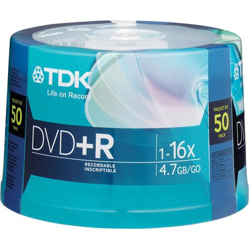 TDK DVD R 4.7GB 16x Recordable Discs (Spindle Pack of 50) 48519