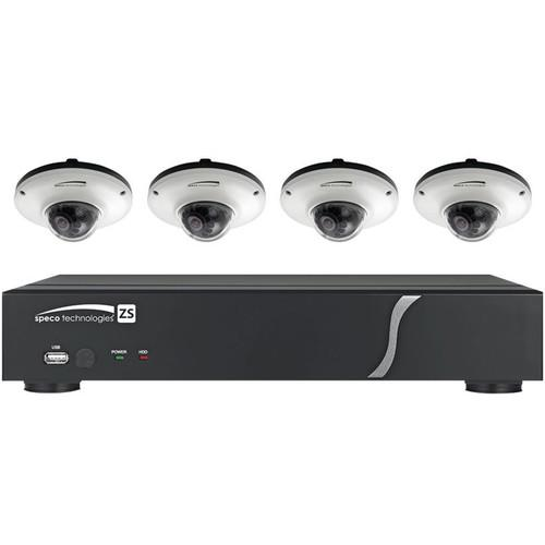 Speco Technologies One 4-Channel N4ZS NVR with Four ZIPK4IM1CW