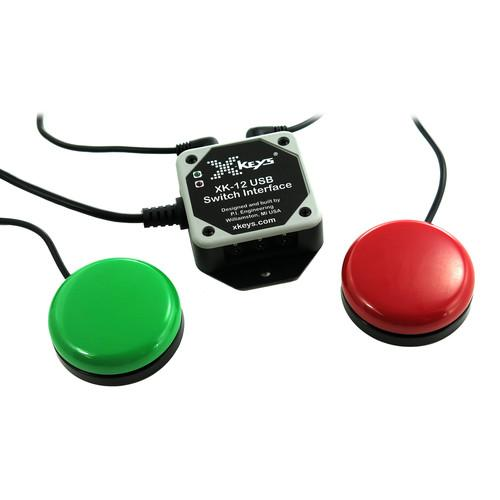 X-keys USB 12 Switch Interface with Red and Green XK-12SWIORB-BU