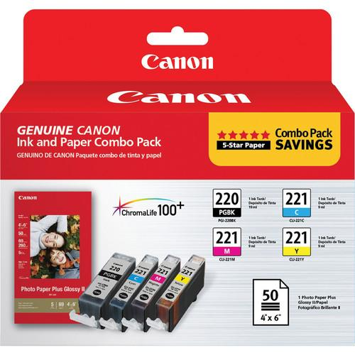 Canon PGI-220/CLI-221 Ink Tank Combo Pack with PP-201 2945B011