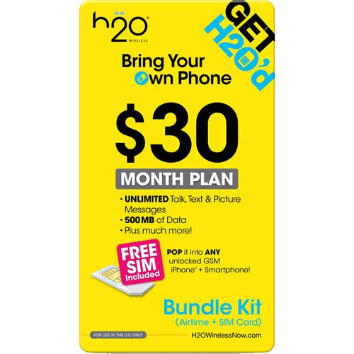 H2O WIRELESS $30 Monthly Unlimited 30-BUNDLE-AIRTME-TRIP-SIM