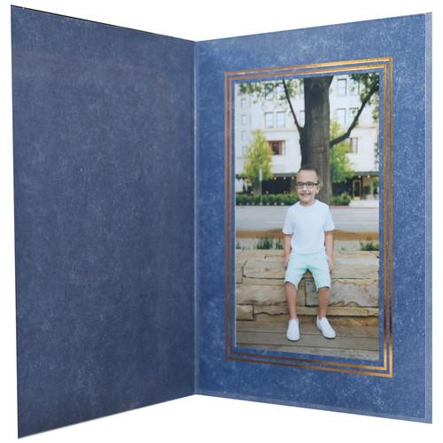 National Photo Folders Royal Blue/Gold Premier Photo TBGPF46P