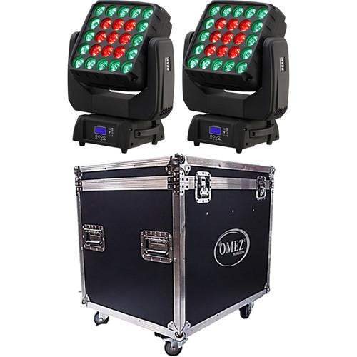 OMEZ Two TitanWash Matrix5 Moving Head LED Fixtures OM331