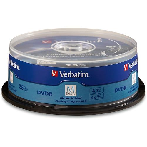 Verbatim M-Disc 4.7GB DVD-R Discs (Spindle, 25-Pack) 98908