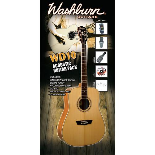 Washburn WD10 Acoustic Guitar Pack with Digital Tuner WD10PACK