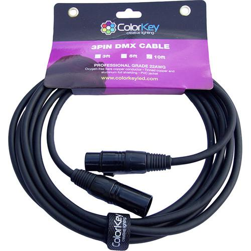 ColorKey DMX Cable with 3-Pin Connector (10', 22 AWG) CKC-10DMX