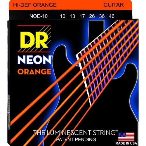 DR Strings NEON Hi-Def Orange Coated Electric Guitar NOE-10