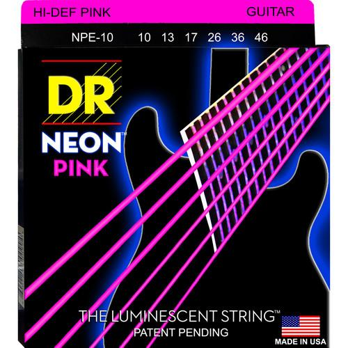 DR Strings NEON Hi-Def Pink Coated Electric Guitar NPE-10