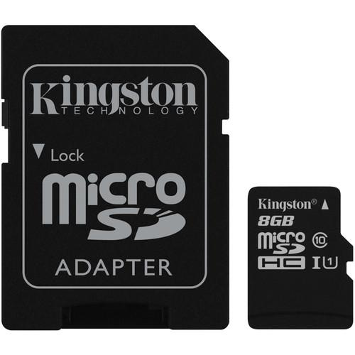 Kingston 8GB UHS-I microSDHC Memory Card with SD SDC10G2/8GB