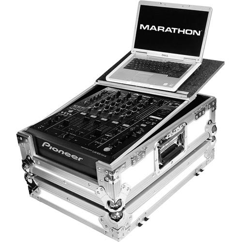 Marathon White Series Flight Road Case with Laptop MA-14MIXLTWH
