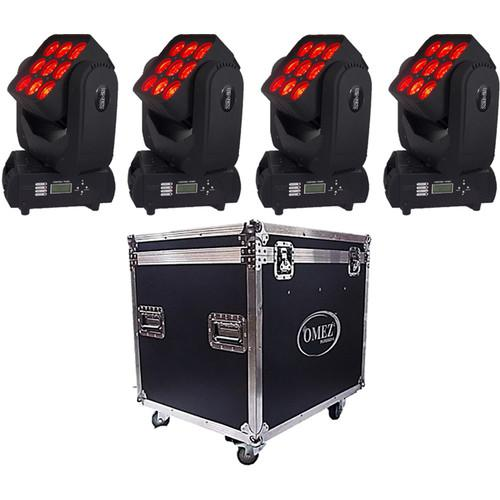 OMEZ Four TitanWash Matrix3 Moving Head LED Fixtures OM333