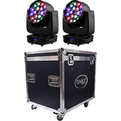 OMEZ Two TitanWash Matrix4 Moving Head LED Wash Fixtures OM345