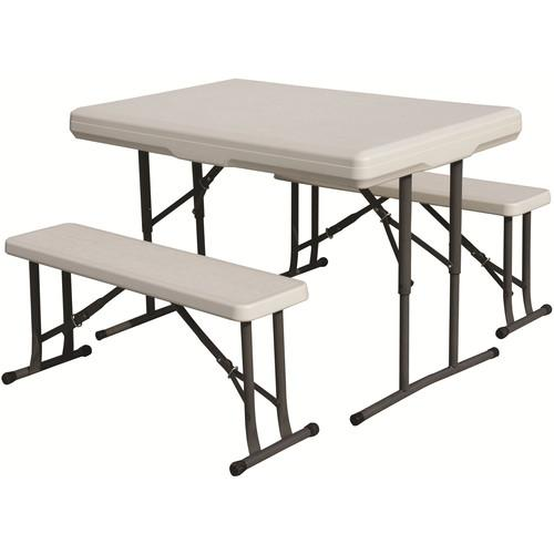Stansport Folding Table with Bench Seats (White) 616
