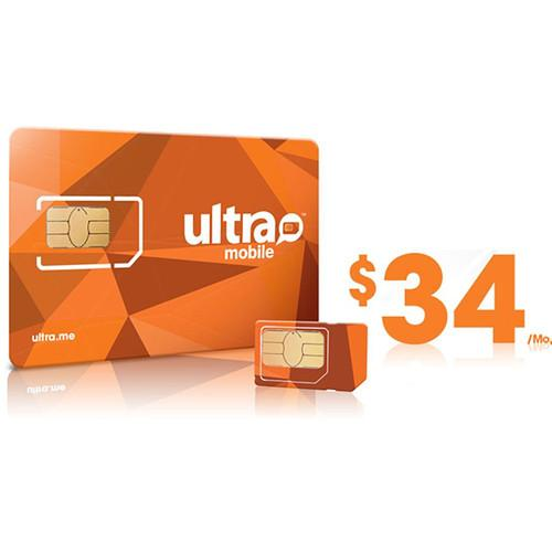 Ultra Mobile $34 2GB Data Plus Plan with 3-Size SIM ULTRA-SIM 34