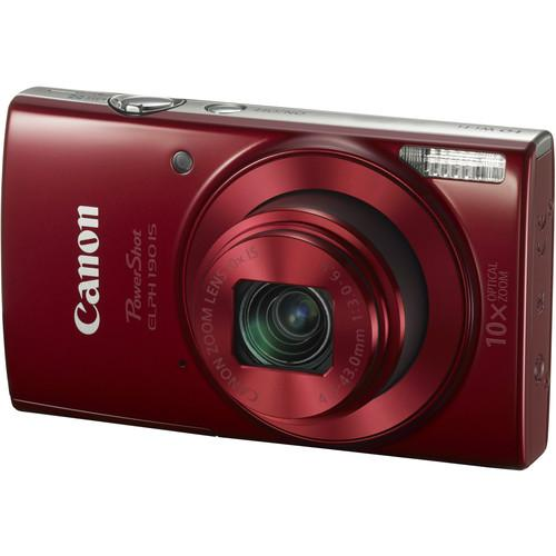 Canon PowerShot ELPH 190 IS Digital Camera (Red) 1087C001