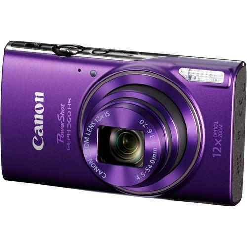 Canon PowerShot ELPH 360 HS Digital Camera (Purple) 1081C001