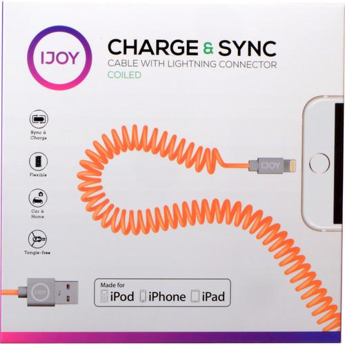 iJOY Coiled Lightning to USB 2.0 Cable (3', Orange) IP-COILM-ORN